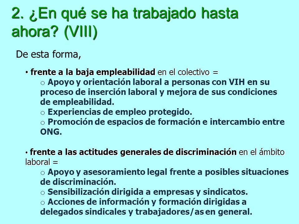 2. ¿En qué se ha trabajado hasta ahora? (VIII) frente a la baja empleabilidad en el colectivo = frente a la baja empleabilidad en el colectivo = o Apo