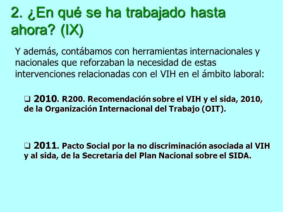 2. ¿En qué se ha trabajado hasta ahora? (IX) 2010. R200. Recomendación sobre el VIH y el sida, 2010, de la Organización Internacional del Trabajo (OIT