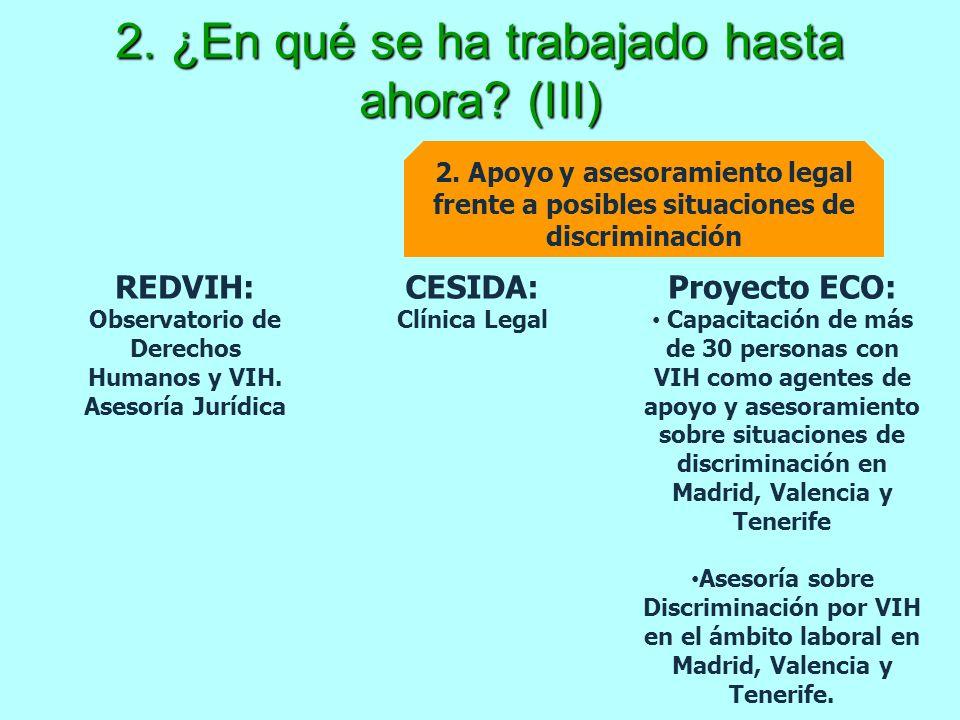 2. ¿En qué se ha trabajado hasta ahora? (III) 2. Apoyo y asesoramiento legal frente a posibles situaciones de discriminación CESIDA: Clínica Legal RED