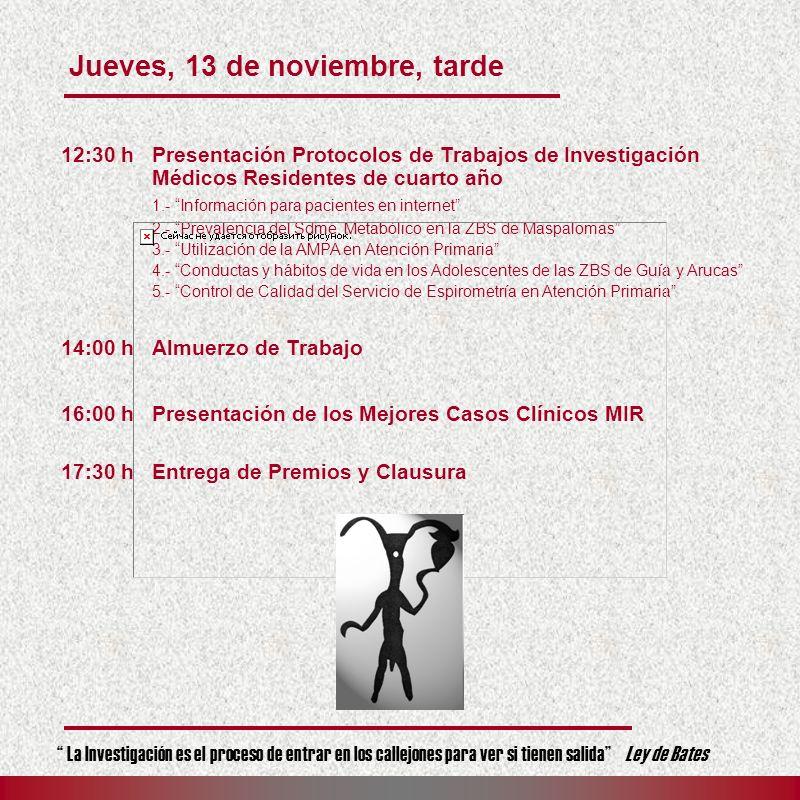 12:30 hPresentación Protocolos de Trabajos de Investigación Médicos Residentes de cuarto año 1.- Información para pacientes en internet 2.- Prevalenci
