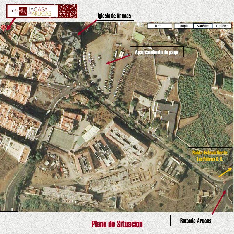 Rotonda Arucas Iglesia de Arucas Aparcamiento de pago Salida Autovía Norte Las Palmas G. C. Plano de Situación