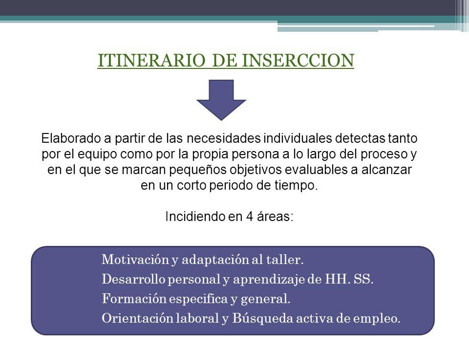 ITINERARIO DE INSERCCION 11 Elaborado a partir de las necesidades individuales detectas tanto por el equipo como por la propia persona a lo largo del