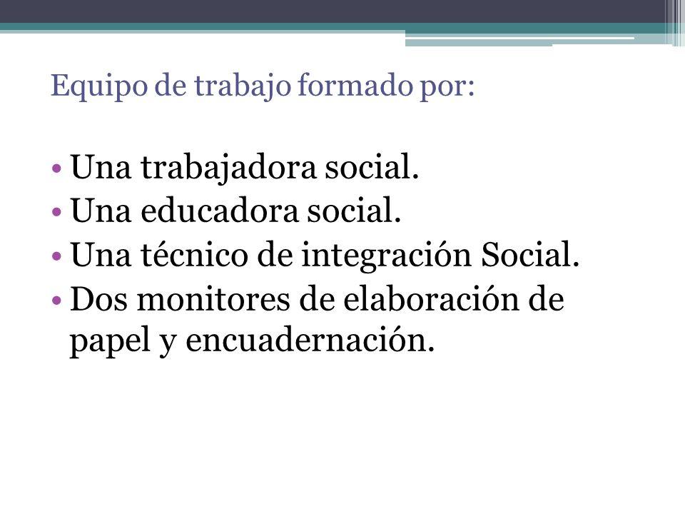 Equipo de trabajo formado por: Una trabajadora social. Una educadora social. Una técnico de integración Social. Dos monitores de elaboración de papel