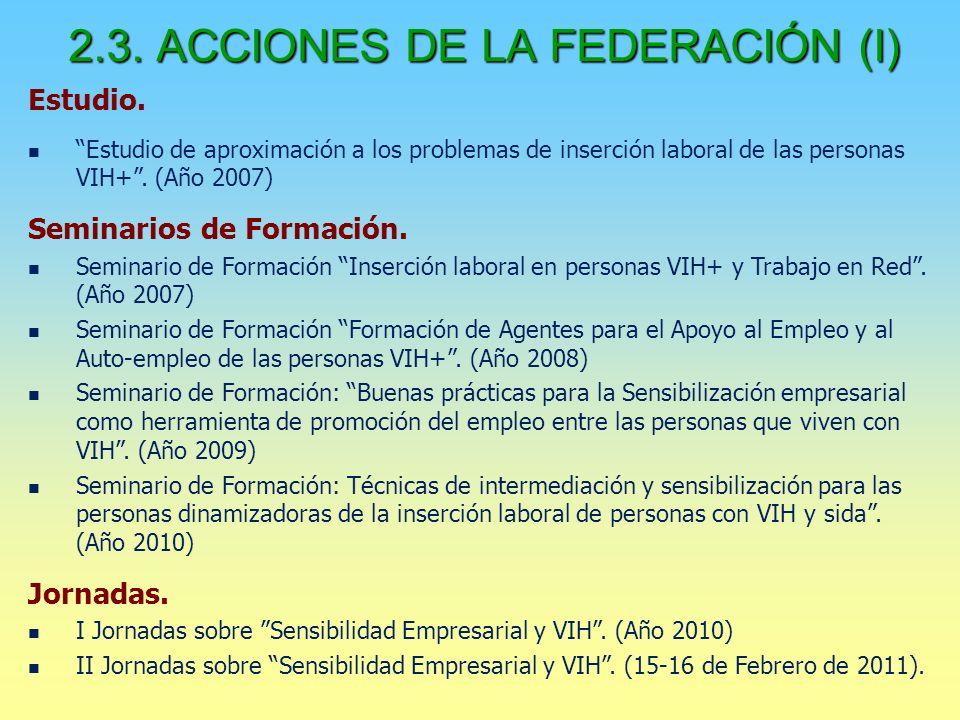 2.3. ACCIONES DE LA FEDERACIÓN (I) Estudio.
