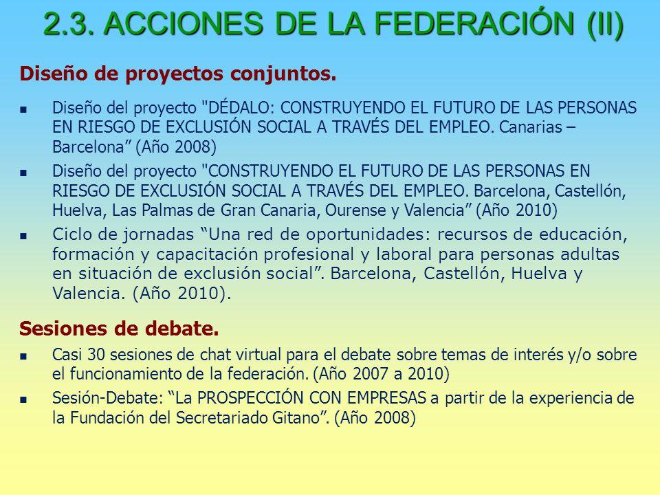 2.3. ACCIONES DE LA FEDERACIÓN (II) Diseño de proyectos conjuntos.