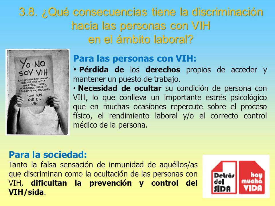3.8. ¿Qué consecuencias tiene la discriminación hacia las personas con VIH en el ámbito laboral.