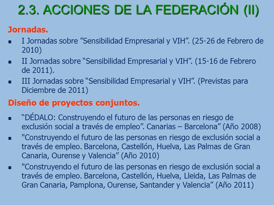 2.3.ACCIONES DE LA FEDERACIÓN (II) Jornadas. I Jornadas sobre Sensibilidad Empresarial y VIH.