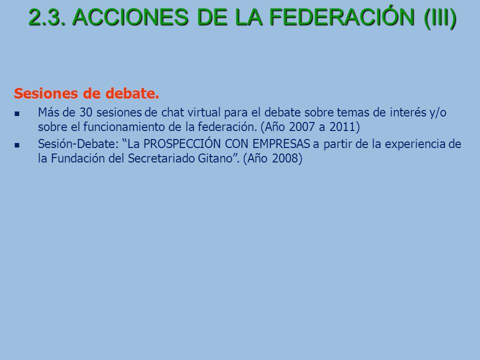 2.3.ACCIONES DE LA FEDERACIÓN (III) Sesiones de debate.