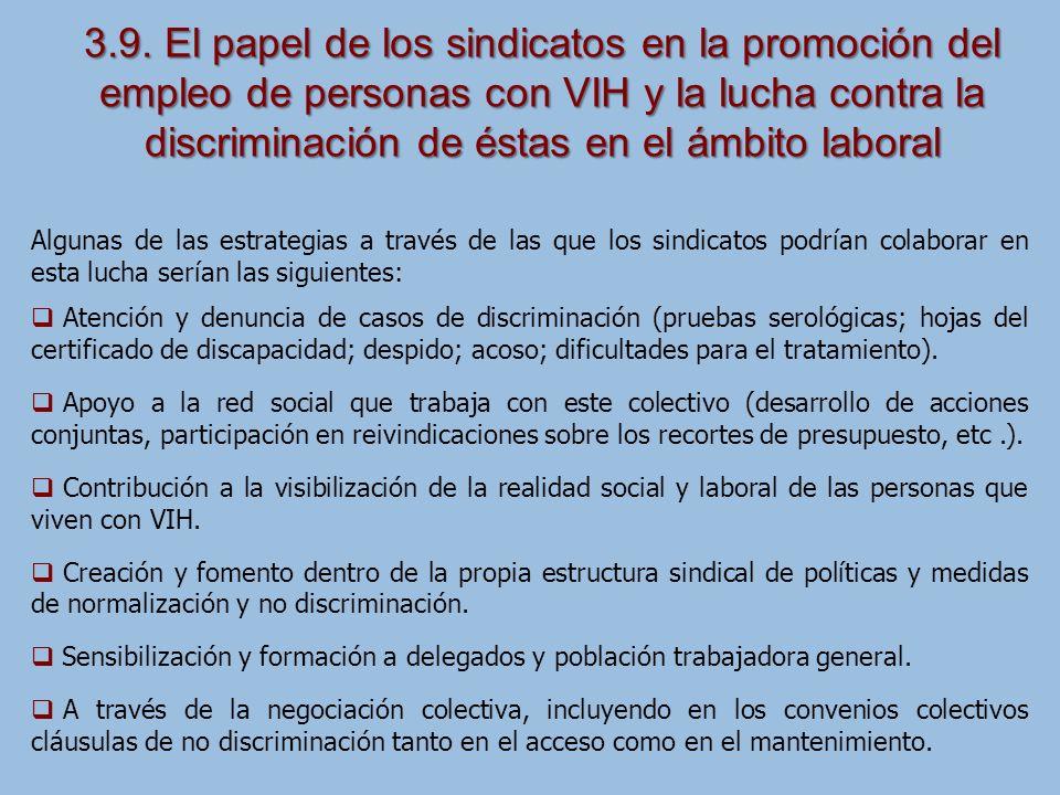 3.9. El papel de los sindicatos en la promoción del empleo de personas con VIH y la lucha contra la discriminación de éstas en el ámbito laboral Algun
