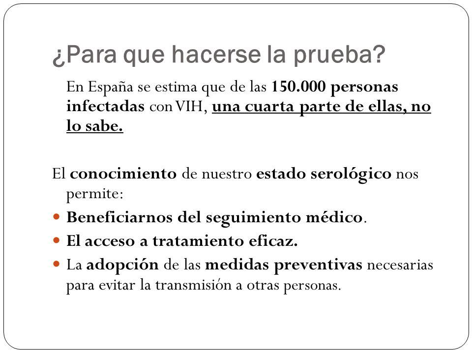 ¿Para que hacerse la prueba? En España se estima que de las 150.000 personas infectadas con VIH, una cuarta parte de ellas, no lo sabe. El conocimient
