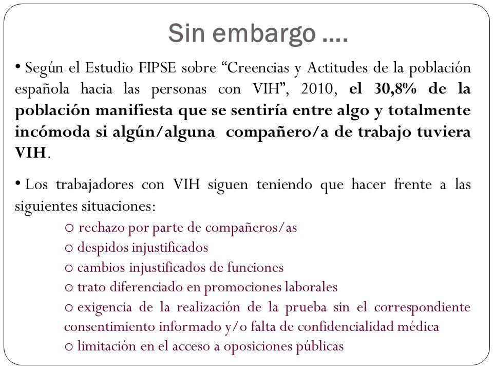 Según el Estudio FIPSE sobre Creencias y Actitudes de la población española hacia las personas con VIH, 2010, el 30,8% de la población manifiesta que