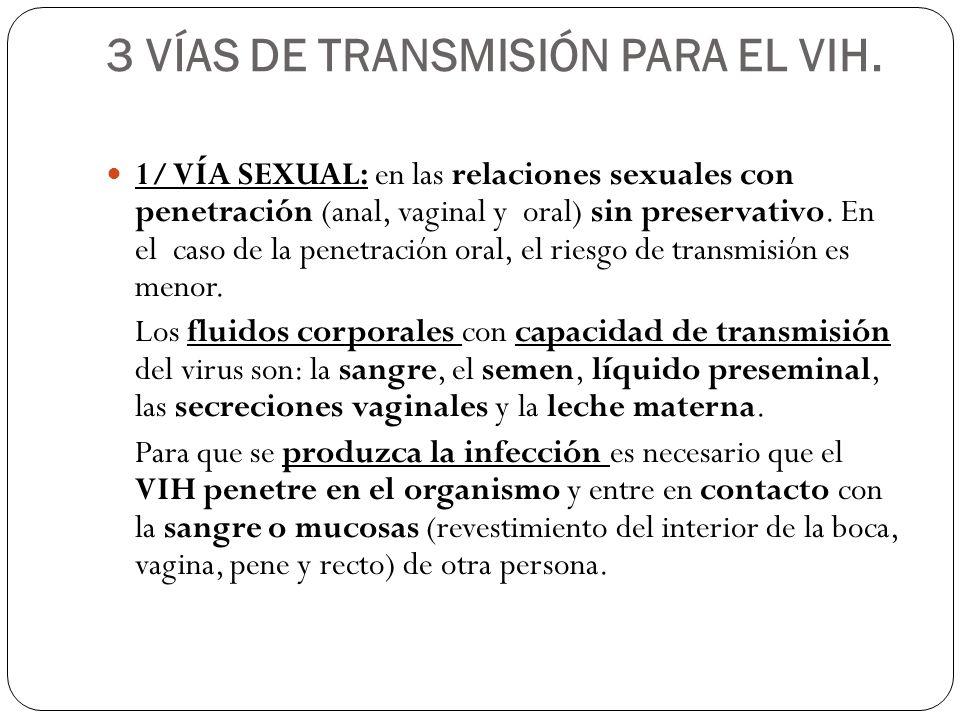 3 VÍAS DE TRANSMISIÓN PARA EL VIH. 1/ VÍA SEXUAL: en las relaciones sexuales con penetración (anal, vaginal y oral) sin preservativo. En el caso de la