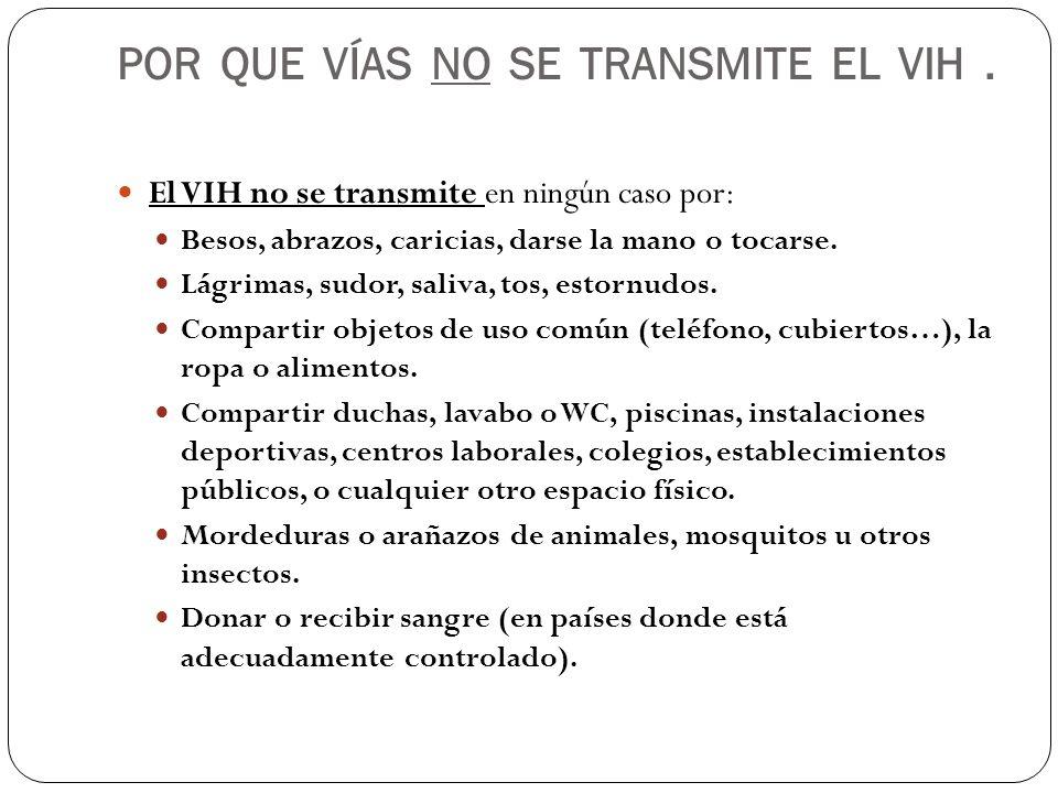 POR QUE VÍAS NO SE TRANSMITE EL VIH. El VIH no se transmite en ningún caso por: Besos, abrazos, caricias, darse la mano o tocarse. Lágrimas, sudor, sa