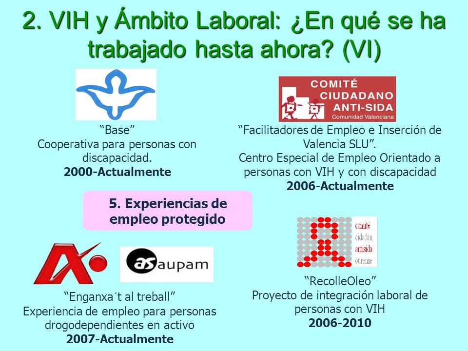 2. VIH y Ámbito Laboral: ¿En qué se ha trabajado hasta ahora? (VI) 5. Experiencias de empleo protegido Facilitadores de Empleo e Inserción de Valencia