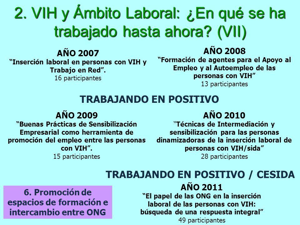 2. VIH y Ámbito Laboral: ¿En qué se ha trabajado hasta ahora? (VII) 6. Promoción de espacios de formación e intercambio entre ONG AÑO 2007 Inserción l