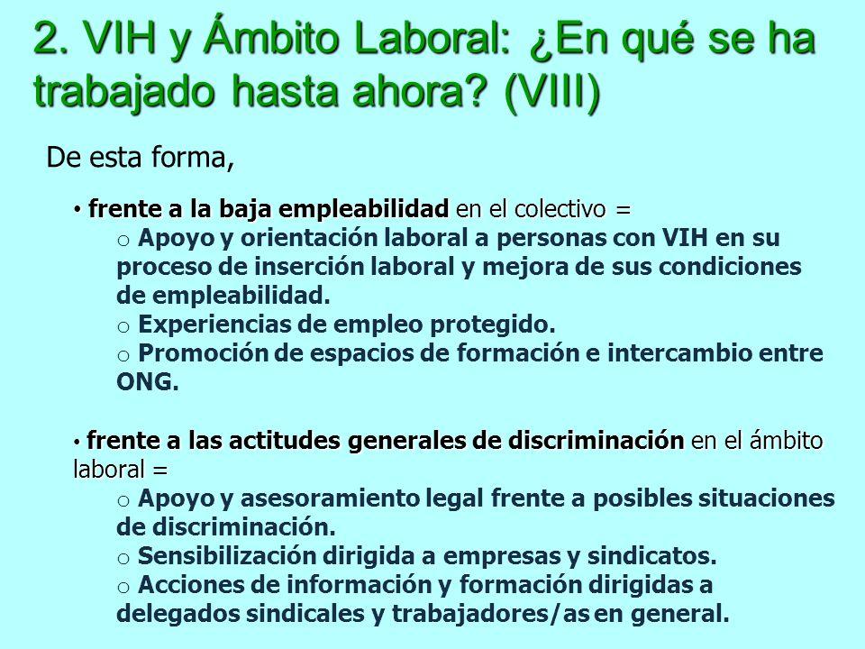 2. VIH y Ámbito Laboral: ¿En qué se ha trabajado hasta ahora? (VIII) frente a la baja empleabilidad en el colectivo = frente a la baja empleabilidad e