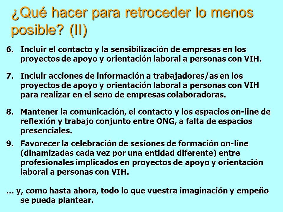 ¿Qué hacer para retroceder lo menos posible? (II) 6.Incluir el contacto y la sensibilización de empresas en los proyectos de apoyo y orientación labor