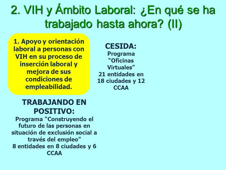 2. VIH y Ámbito Laboral: ¿En qué se ha trabajado hasta ahora? (II) 1. Apoyo y orientación laboral a personas con VIH en su proceso de inserción labora