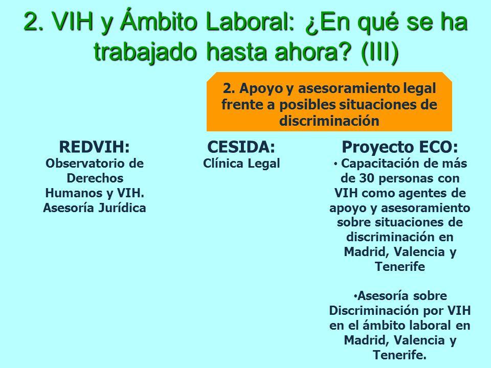 2. VIH y Ámbito Laboral: ¿En qué se ha trabajado hasta ahora? (III) 2. Apoyo y asesoramiento legal frente a posibles situaciones de discriminación CES