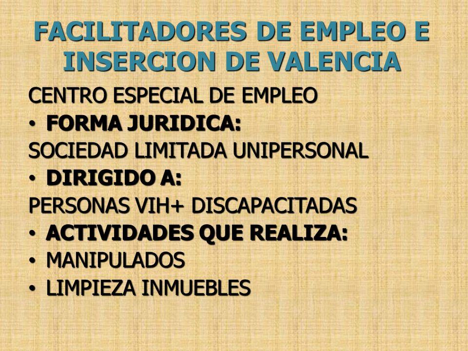CENTRO ESPECIAL DE EMPLEO FORMA JURIDICA: FORMA JURIDICA: SOCIEDAD LIMITADA UNIPERSONAL DIRIGIDO A: DIRIGIDO A: PERSONAS VIH+ DISCAPACITADAS ACTIVIDAD
