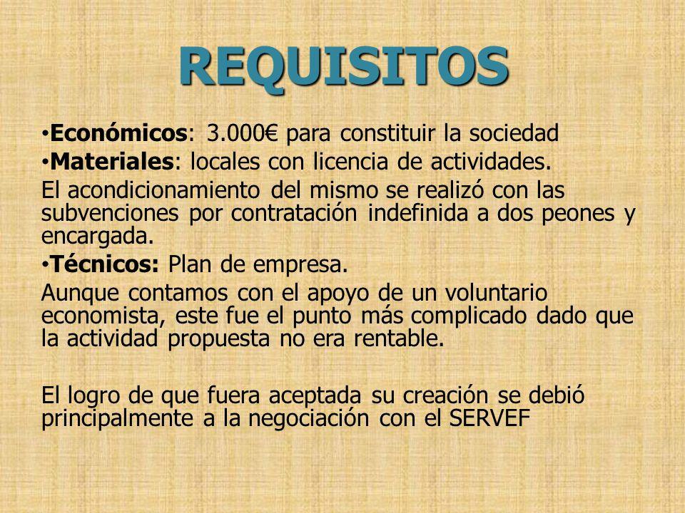 REQUISITOS Económicos: 3.000 para constituir la sociedad Materiales: locales con licencia de actividades. El acondicionamiento del mismo se realizó co