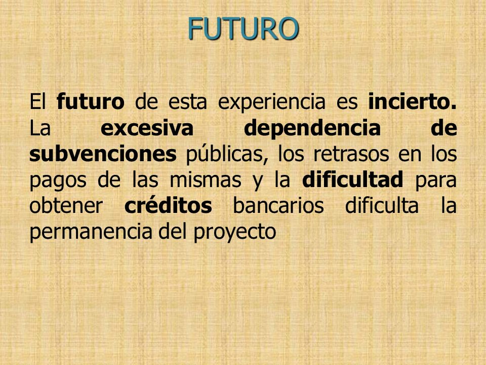 El futuro de esta experiencia es incierto. La excesiva dependencia de subvenciones públicas, los retrasos en los pagos de las mismas y la dificultad p