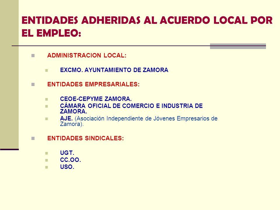 ENTIDADES ADHERIDAS AL ACUERDO LOCAL POR EL EMPLEO: ADMINISTRACION LOCAL: EXCMO. AYUNTAMIENTO DE ZAMORA ENTIDADES EMPRESARIALES: CEOE-CEPYME ZAMORA. C