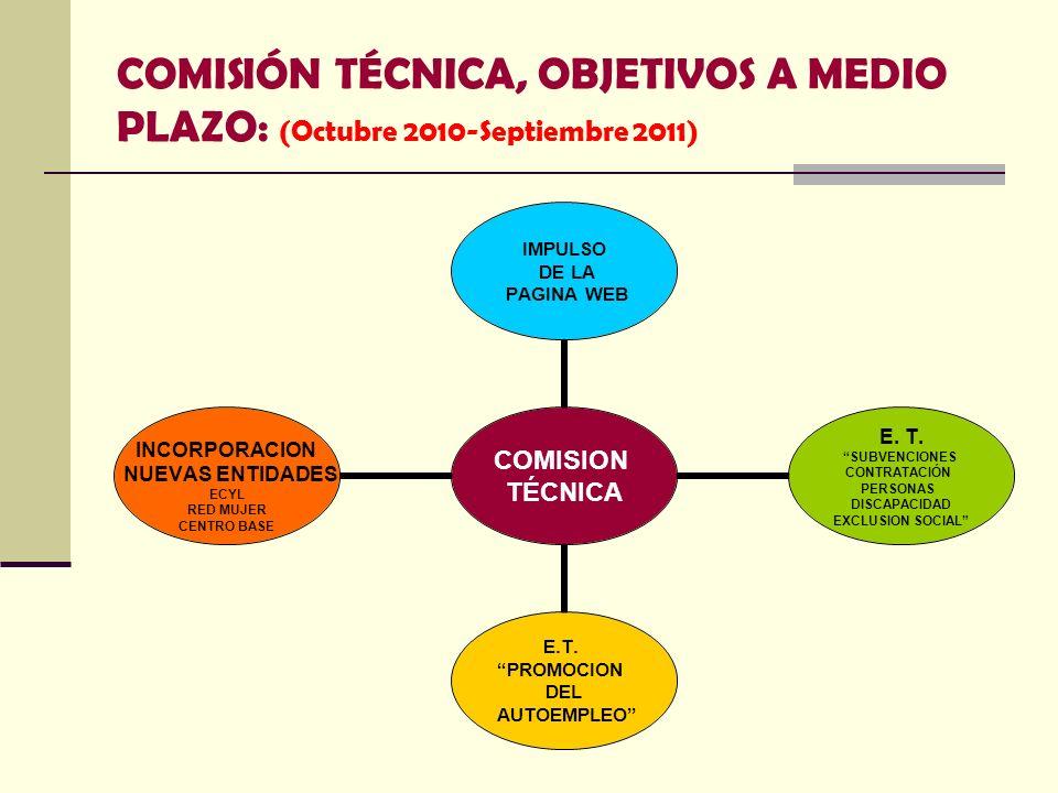 COMISIÓN TÉCNICA, OBJETIVOS A MEDIO PLAZO: (Octubre 2010-Septiembre 2011) COMISION TÉCNICA IMPULSO DE LA PAGINA WEB E. T. SUBVENCIONES CONTRATACIÓN PE