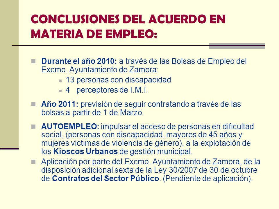 CONCLUSIONES DEL ACUERDO EN MATERIA DE EMPLEO: Durante el año 2010: a través de las Bolsas de Empleo del Excmo. Ayuntamiento de Zamora: 13 personas co
