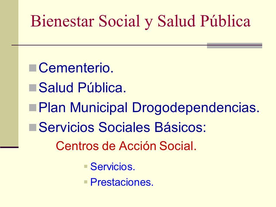 Bienestar Social y Salud Pública Cementerio. Salud Pública. Plan Municipal Drogodependencias. Servicios Sociales Básicos: Centros de Acción Social. Se