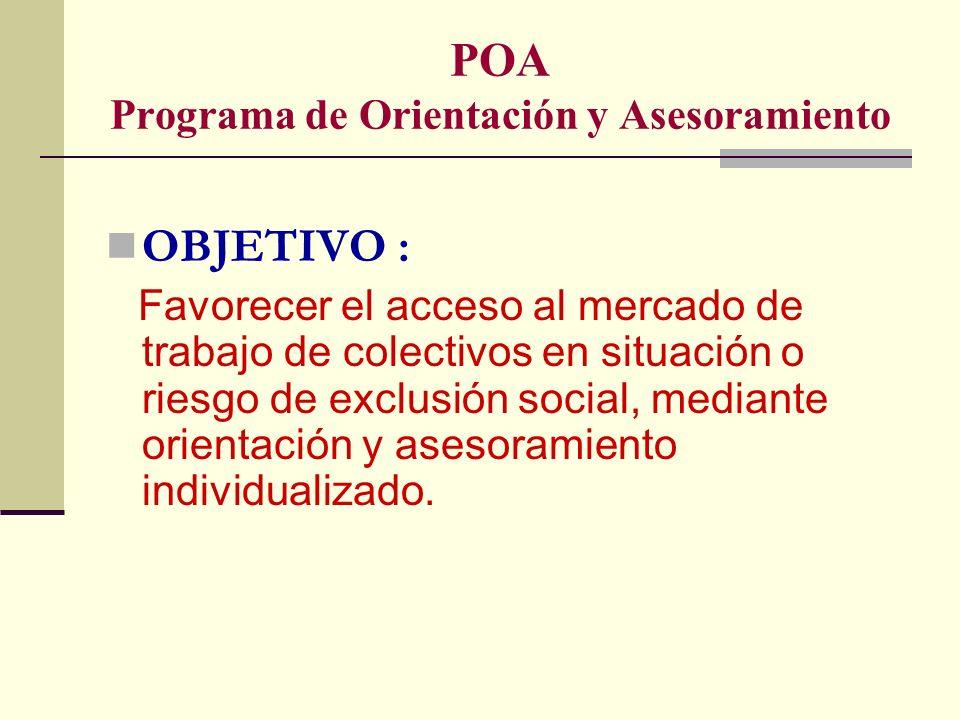POA Programa de Orientación y Asesoramiento ACCIONES : En relación al usuario : análisis de la situación socio laboral del usuario, Motivación para la formación, facilitar el acceso a una formación básica y/o ocupacional, seguimiento de la formación y situación sociolaboral…etc.