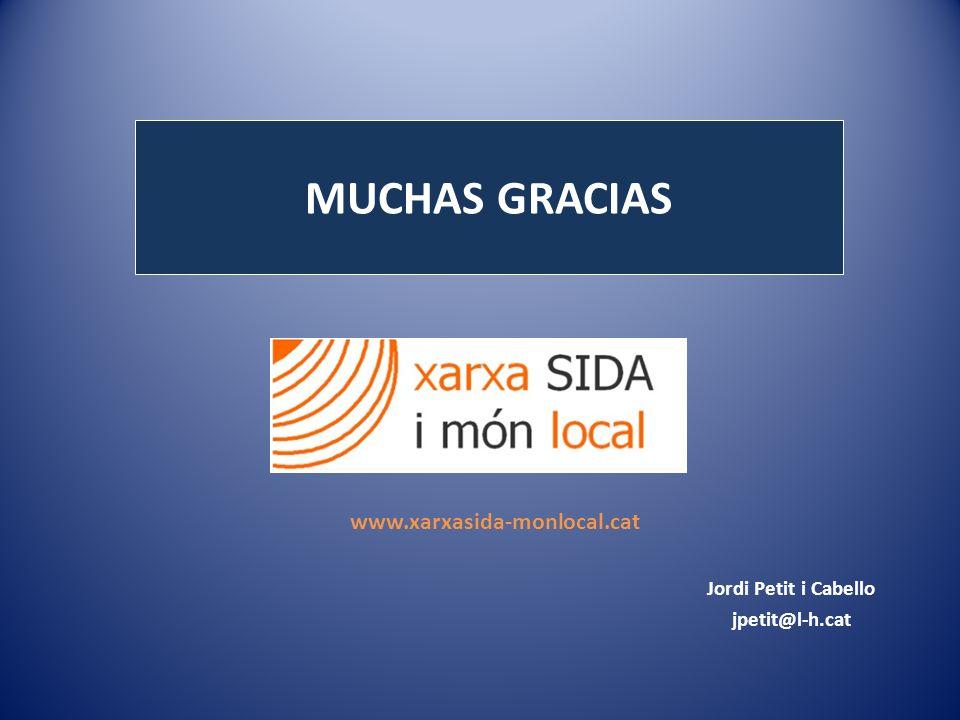 MUCHAS GRACIAS Jordi Petit i Cabello jpetit@l-h.cat www.xarxasida-monlocal.cat