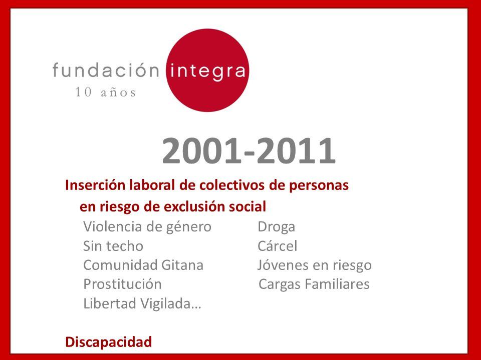 2001-2011 Inserción laboral de colectivos de personas en riesgo de exclusión social Violencia de género Droga Sin techoCárcel Comunidad Gitana Jóvenes