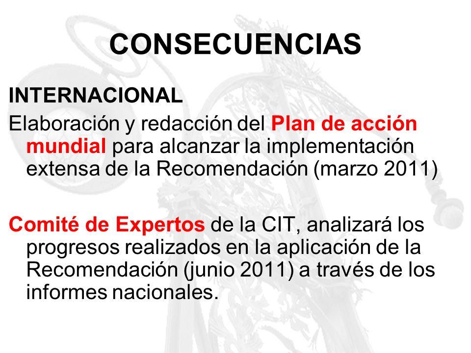 CONSECUENCIAS INTERNACIONAL Elaboración y redacción del Plan de acción mundial para alcanzar la implementación extensa de la Recomendación (marzo 2011