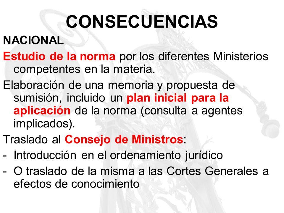CONSECUENCIAS NACIONAL Estudio de la norma por los diferentes Ministerios competentes en la materia. Elaboración de una memoria y propuesta de sumisió