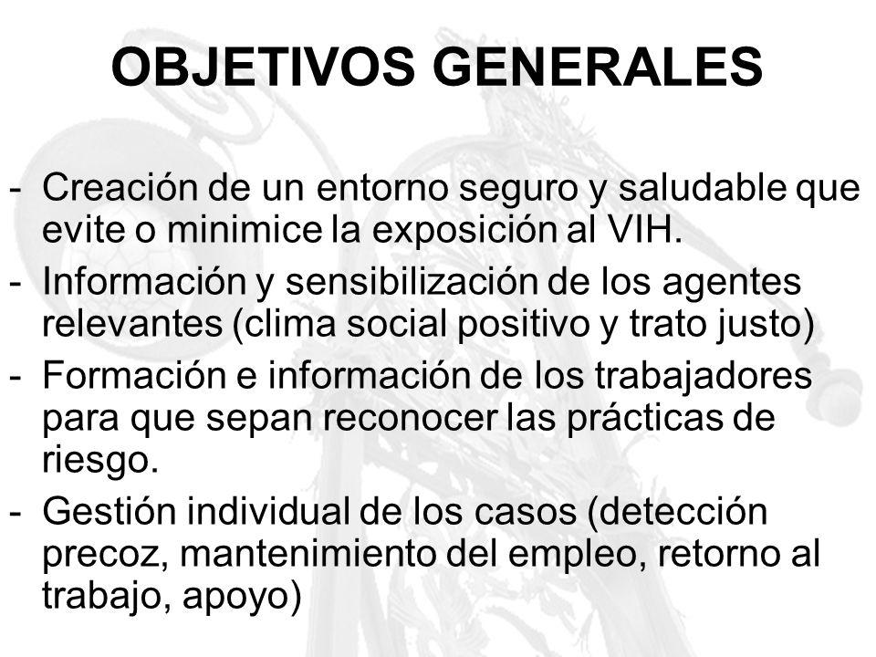 OBJETIVOS GENERALES -Creación de un entorno seguro y saludable que evite o minimice la exposición al VIH. -Información y sensibilización de los agente