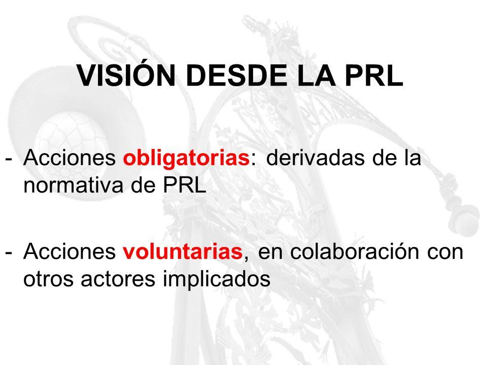 VISIÓN DESDE LA PRL -Acciones obligatorias: derivadas de la normativa de PRL -Acciones voluntarias, en colaboración con otros actores implicados