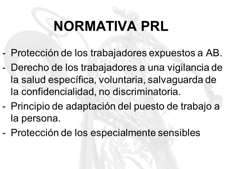 NORMATIVA PRL -Protección de los trabajadores expuestos a AB. -Derecho de los trabajadores a una vigilancia de la salud específica, voluntaria, salvag