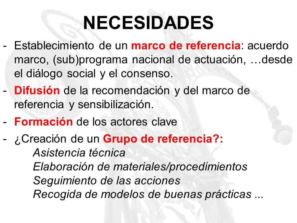 NECESIDADES -Establecimiento de un marco de referencia: acuerdo marco, (sub)programa nacional de actuación, …desde el diálogo social y el consenso. -D