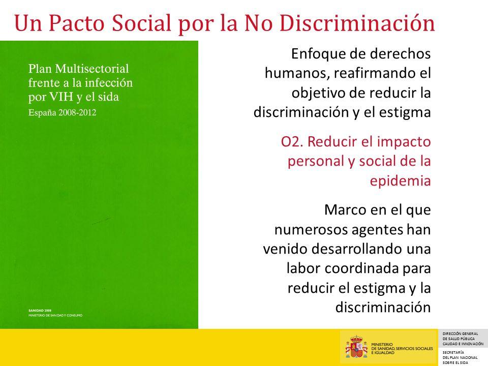 DIRECCIÓN GENERAL DE SALUD PÚBLICA CALIDAD E INNOVACIÓN SECRETARÍA DEL PLAN NACIONAL SOBRE EL SIDA Un Pacto Social por la No Discriminación Enfoque de derechos humanos, reafirmando el objetivo de reducir la discriminación y el estigma O2.