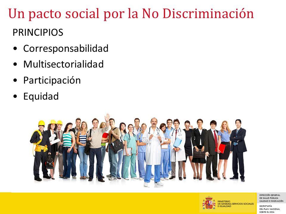 DIRECCIÓN GENERAL DE SALUD PÚBLICA CALIDAD E INNOVACIÓN SECRETARÍA DEL PLAN NACIONAL SOBRE EL SIDA Un pacto social por la No Discriminación PRINCIPIOS Corresponsabilidad Multisectorialidad Participación Equidad