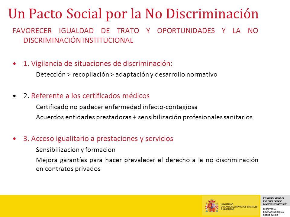 DIRECCIÓN GENERAL DE SALUD PÚBLICA CALIDAD E INNOVACIÓN SECRETARÍA DEL PLAN NACIONAL SOBRE EL SIDA Un Pacto Social por la No Discriminación FAVORECER IGUALDAD DE TRATO Y OPORTUNIDADES Y LA NO DISCRIMINACIÓN INSTITUCIONAL 1.