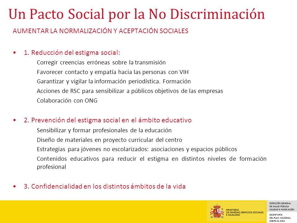 DIRECCIÓN GENERAL DE SALUD PÚBLICA CALIDAD E INNOVACIÓN SECRETARÍA DEL PLAN NACIONAL SOBRE EL SIDA Un Pacto Social por la No Discriminación AUMENTAR LA NORMALIZACIÓN Y ACEPTACIÓN SOCIALES 1.