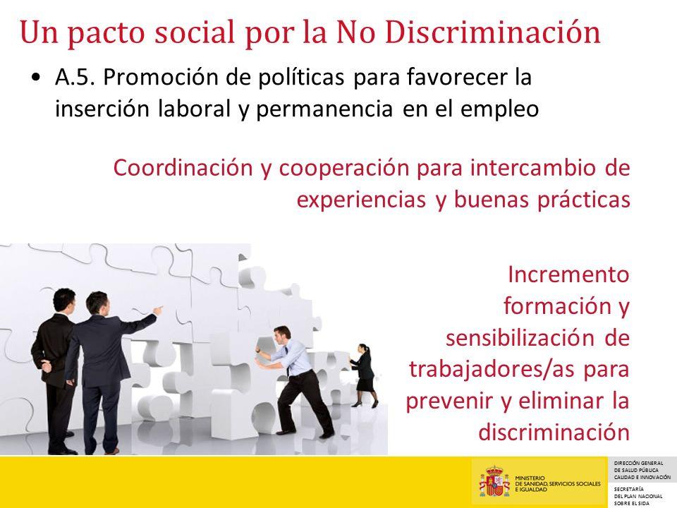 DIRECCIÓN GENERAL DE SALUD PÚBLICA CALIDAD E INNOVACIÓN SECRETARÍA DEL PLAN NACIONAL SOBRE EL SIDA Un pacto social por la No Discriminación A.5. Promo