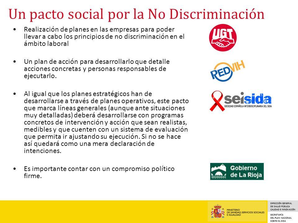 DIRECCIÓN GENERAL DE SALUD PÚBLICA CALIDAD E INNOVACIÓN SECRETARÍA DEL PLAN NACIONAL SOBRE EL SIDA Un pacto social por la No Discriminación Realizació