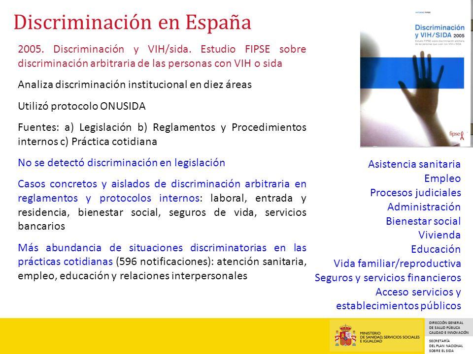DIRECCIÓN GENERAL DE SALUD PÚBLICA CALIDAD E INNOVACIÓN SECRETARÍA DEL PLAN NACIONAL SOBRE EL SIDA Discriminación en España 2005.