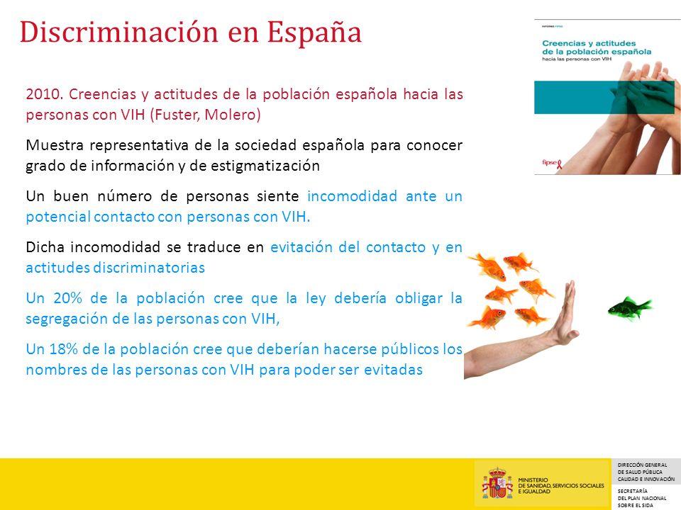DIRECCIÓN GENERAL DE SALUD PÚBLICA CALIDAD E INNOVACIÓN SECRETARÍA DEL PLAN NACIONAL SOBRE EL SIDA Discriminación en España 2010.
