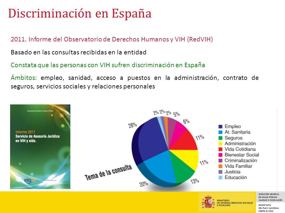 DIRECCIÓN GENERAL DE SALUD PÚBLICA CALIDAD E INNOVACIÓN SECRETARÍA DEL PLAN NACIONAL SOBRE EL SIDA Discriminación en España 2011.