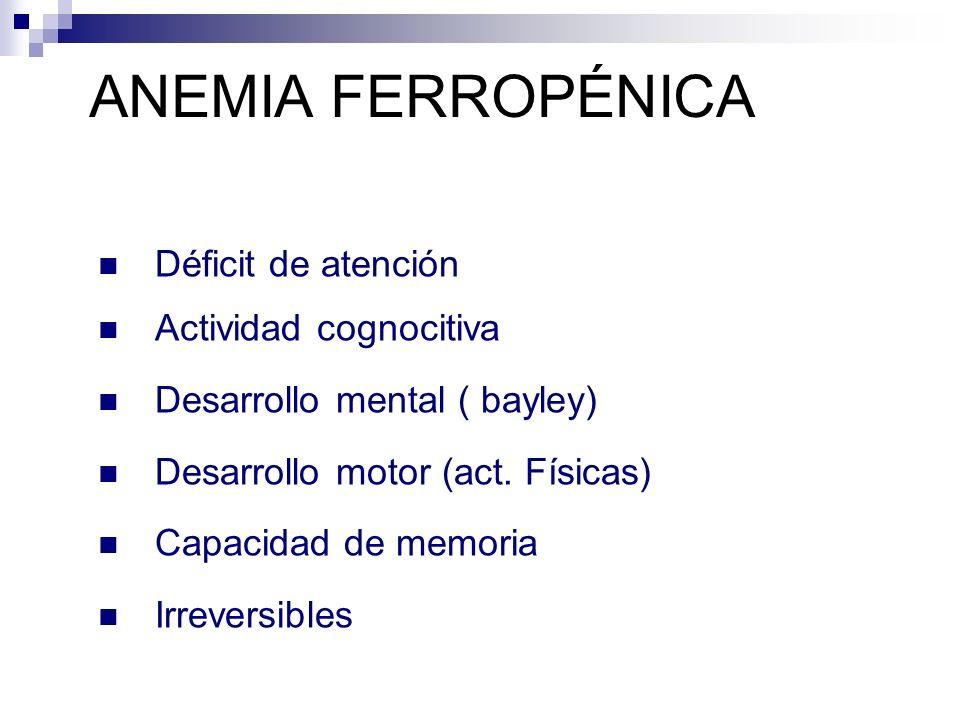 ANEMIA FERROPÉNICA Déficit de atención Actividad cognocitiva Desarrollo mental ( bayley) Desarrollo motor (act. Físicas) Capacidad de memoria Irrevers