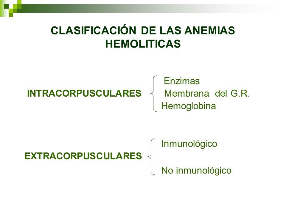CLASIFICACIÓN DE LAS ANEMIAS HEMOLITICAS Enzimas INTRACORPUSCULARES Membrana del G.R. Hemoglobina Inmunológico EXTRACORPUSCULARES No inmunológico